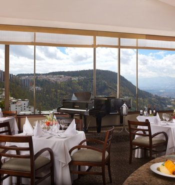 Enjoy a restaurant with a unique view of the city.